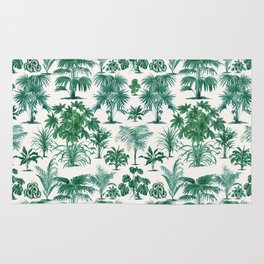 Exotic Tropical Palm Print Rug