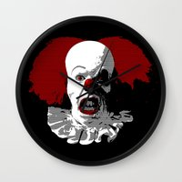 pennywise Wall Clocks featuring IT by PsychoBudgie