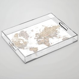 "Watercolor world map ""Happiness is a way of travel"" Acrylic Tray"