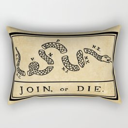 """1776 """"Join, or Die"""" Revolutionary War flag with 13 colonies, snake & no colors by Benjamin Franklin Rectangular Pillow"""