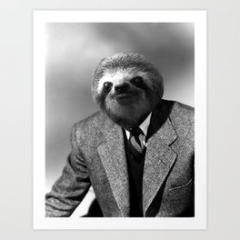 Gentleman Sloth with Striped Tie Art Print