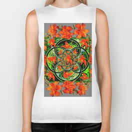 ORANGE DAYLILIES GREEN GARDEN GREY GEOMETRIC Biker Tank