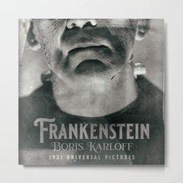 Frankenstein, vintage movie poster, Boris Karloff, horror film, Mary Shelley book cover Metal Print