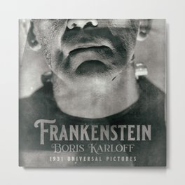 Frankenstein, vintage movie poster, Boris Karloff, horror film, Mary Shelley book cover Metal Print