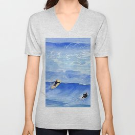 Getting ready to take this wave surf art Unisex V-Neck