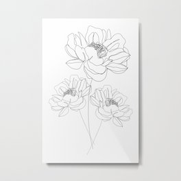 Minimal Line Art Flowers Metal Print