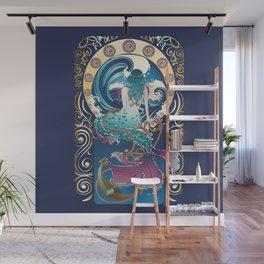 Blue Mermaid with anchor art nouveau design Wall Mural