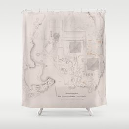 Vintage Map of The Pyramids of Giza (1856) Shower Curtain