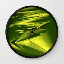 Diffuse landscap with stylised mountains, sea and yellow Sun. Wall Clock