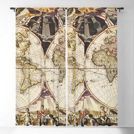 Terra Nova Vintage Maps And Drawings Blackout Curtain