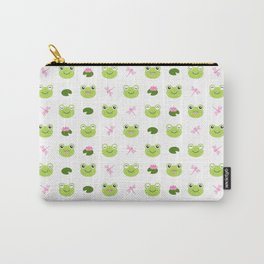 Frogs, Dragonflies and Lilypads on White Carry-All Pouch