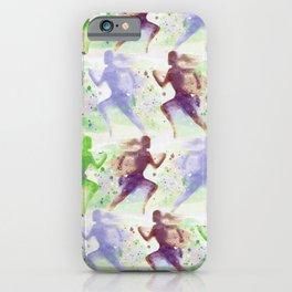 Watercolor women runner pattern Brown green blue iPhone Case