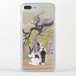 Two Rabbits Under Wisteria Tree Clear iPhone Case