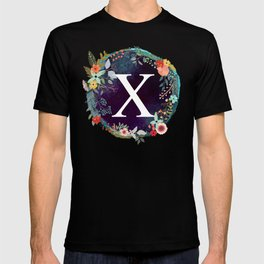 Personalized Monogram Initial Letter X Floral Wreath Artwork T-shirt