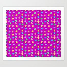 Happy Valentine's Day Candy Hearts pattern Art Print