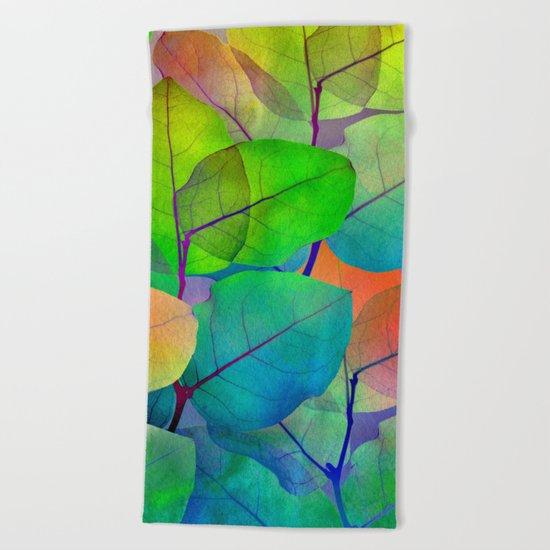 Translucent Leaves Beach Towel