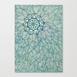 Emerald Green, Navy & Cream Floral & Leaf doodle Canvas Print