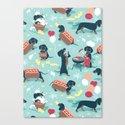 Hot dogs and lemonade // aqua background navy dachshunds by selmacardoso