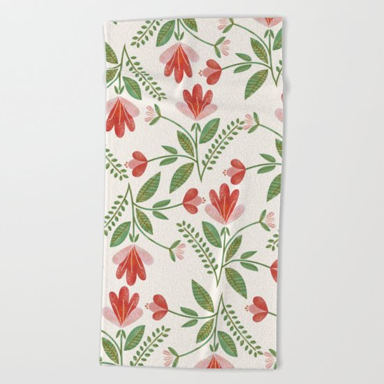 Floral Garden Pattern Beach Towel