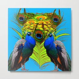 BLUE-GREEN PEACOCKS & LIME FEATHERS ART Metal Print