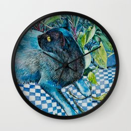 Who Me? Naughty Black Cat amongst Indoor Plants Wall Clock