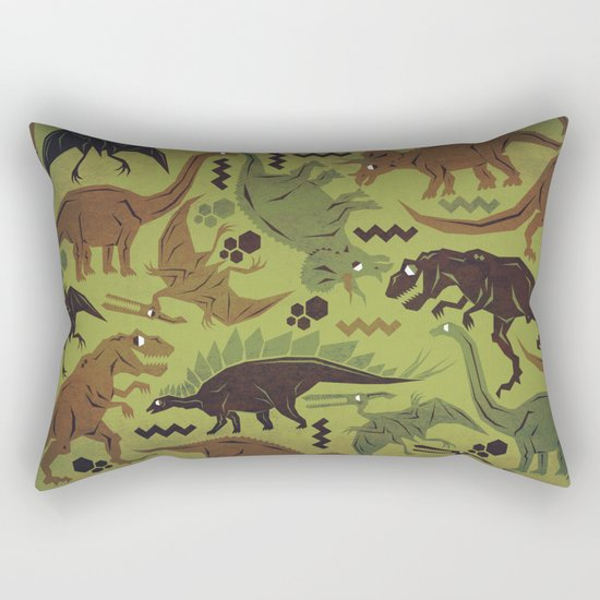 Camouflage Dinosaur Geometric Pattern Rectangular Pillow