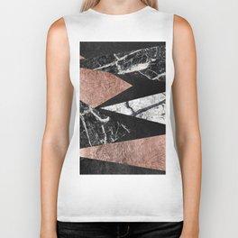 Elegant Modern Marble, Rose Gold, & Black Foil Triangles Biker Tank