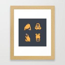 Pizza Yoga with The Pug Framed Art Print