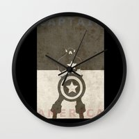 america Wall Clocks featuring America by Christophe Chiozzi