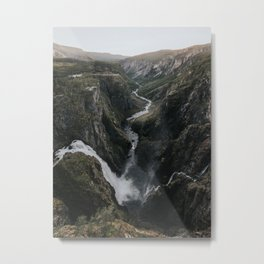 Voringsfossen Waterfall - Landscape and Nature Photography Metal Print