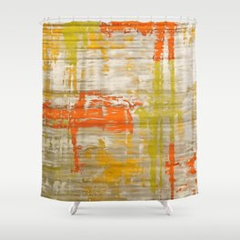 A Splash Of Citrus Grunge Abstract Shower Curtain