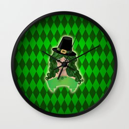 Leprechaun lady in black hat Wall Clock