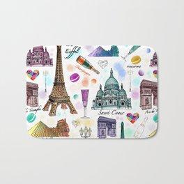 Voyage à Paris (Watercolor) Bath Mat