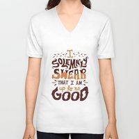 risa rodil V-neck T-shirts featuring I am up to no good by Risa Rodil
