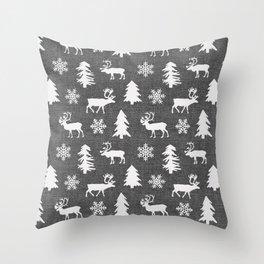 Winter Forest on Dark Linen Throw Pillow