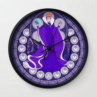 evil queen Wall Clocks featuring Evil Queen  by NicoleGrahamART