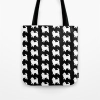 westie Tote Bags featuring Westie Dog Pattern by Antique Images