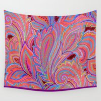 paisley Wall Tapestries featuring paisley heart  by Ariadne