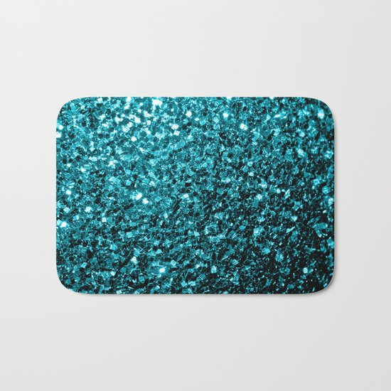 Beautiful Aqua blue glitter sparkles Bath Mat