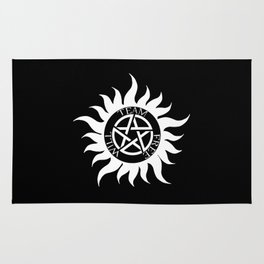 Team Free Will Anti-Possession Symbol - Supernatural (White) Rug