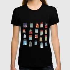 Little Houses Black Womens Fitted Tee SMALL