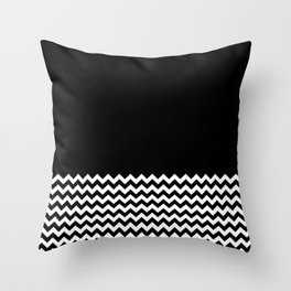Black & Chevron (Black/White) Throw Pillow