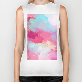 Colorful Abstract - pink and blue pattern Biker Tank