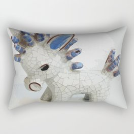 Modern Donkey Illustration with blue hair Rectangular Pillow