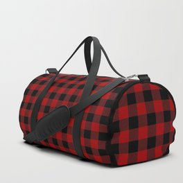 Red and Black Plaid Duffle Bag