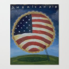 American Pie in the Sky Flag Folk Art Canvas Print