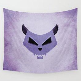 Purple Funny Evil Cat Skull Wall Tapestry