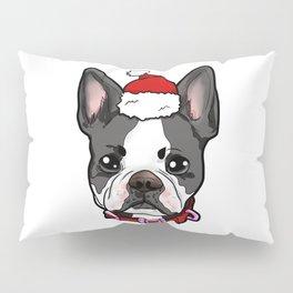 Boston Terrier Dog Christmas Hat Present Pillow Sham