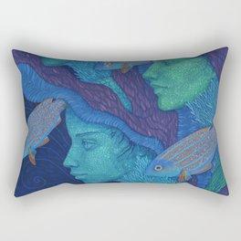 The Waiting, underwater fantasy, girls & fish Rectangular Pillow