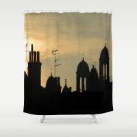 skyline Shower Curtains featuring Skyline by Dave Forrest, Glasgow, SCOTLAND